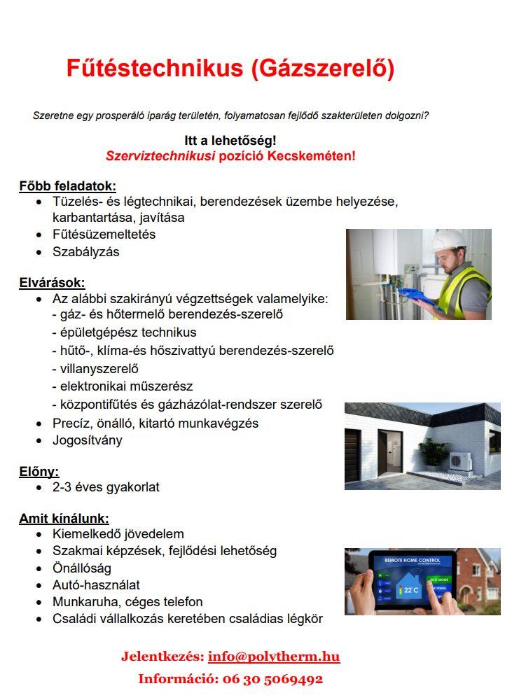 Fűtéstechnikus (Gázszerelő)